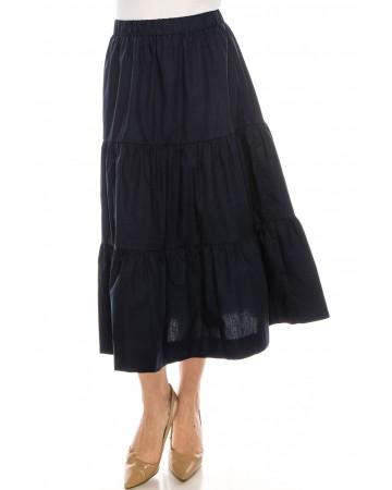 Midi Ruched Skirt Navy