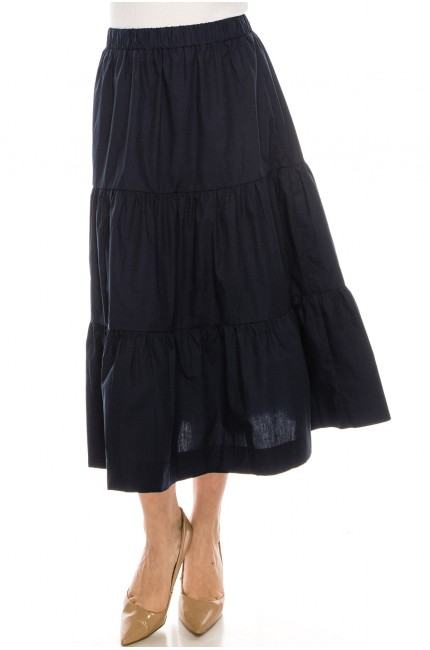 Midi Ruched Skirt Navy