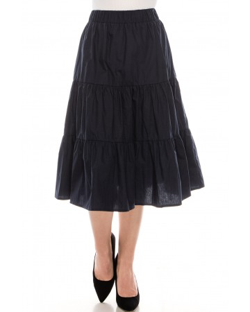 Ruched tiered skirt navy