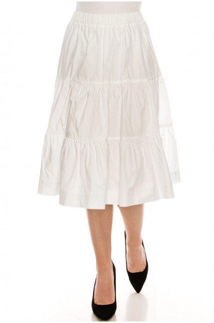 Ruched tiered skirt White