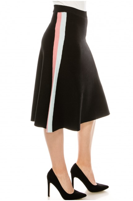Black knit skirt with stripe detail