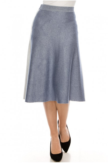 Blue and White Skirt With Stripe Detail