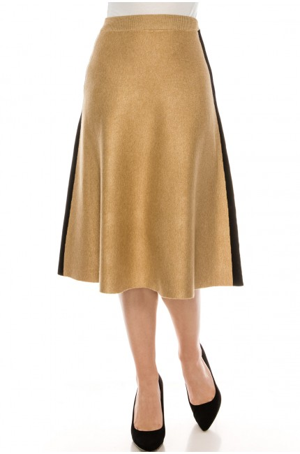 Camel knit skirt with stripe detail
