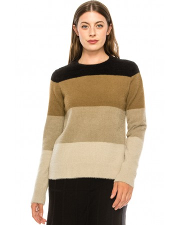Neutral Color Block Fuzzy Sweater