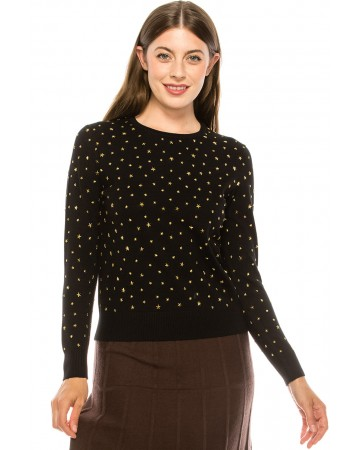 Black and Gold Star Top