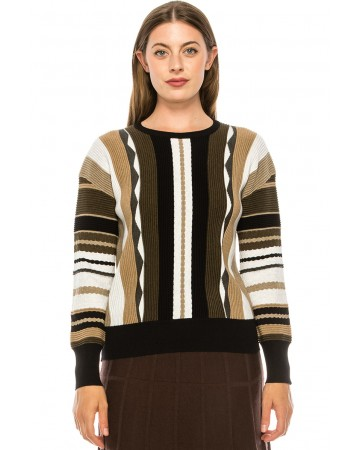 Earth Tone Pattern Knit Sweater