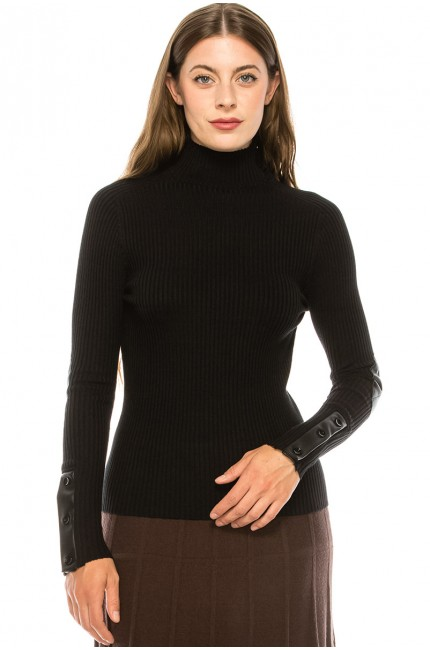 Black Turtle Neck with Button Sleeves