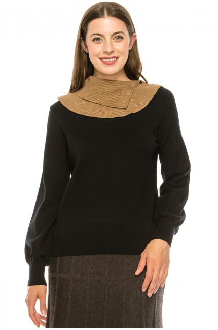 Black and Camel Split Neck Sweater
