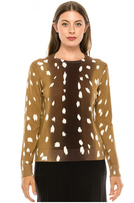 Ombre Paint Stroke Top - Brown