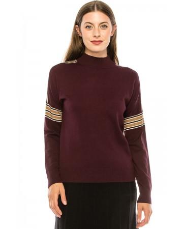 Shoulder Striped Top - Burgundy