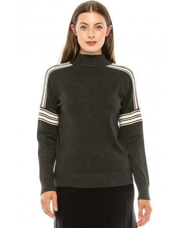 Shoulder Striped Top - Grey