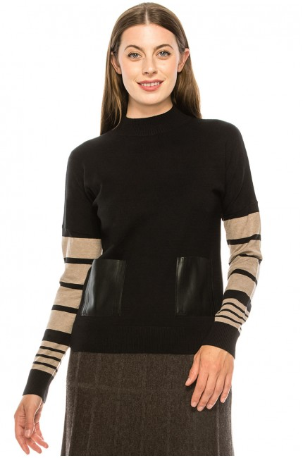 Lower Sleeve Striped Top