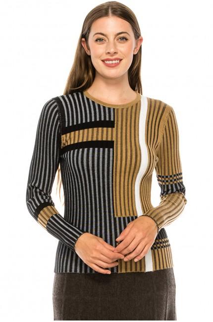 Ribbed Bi-Color Sweater