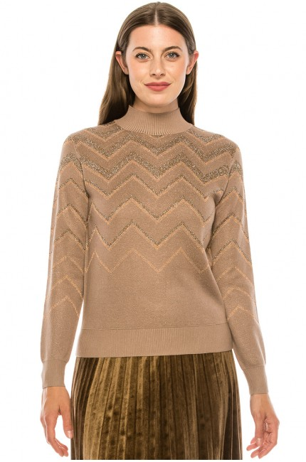 Taupe Glittered Chevron Sweater