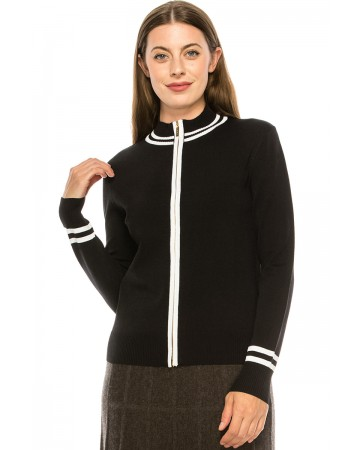Black Zip Up with White Piping