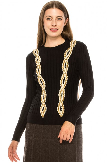 Braided Jewel Sweater