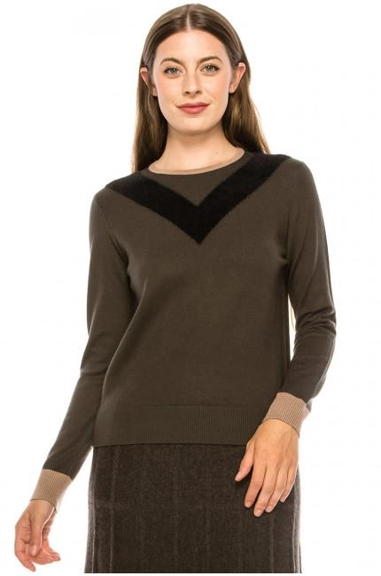 "The ""V-Neck"" Sweater - Olive"