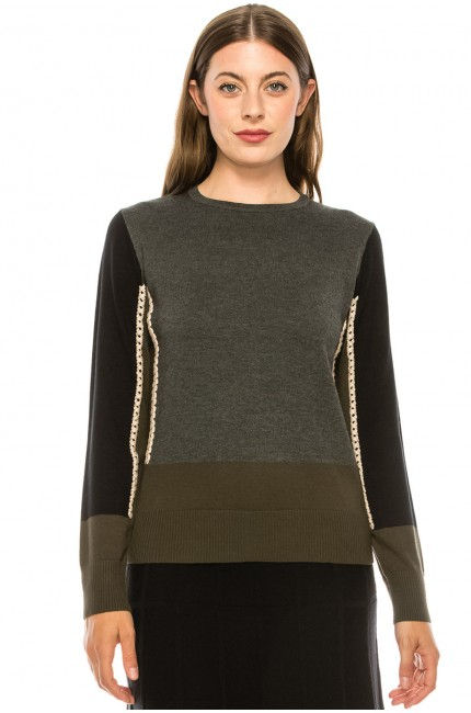 Side-Piping Sweater