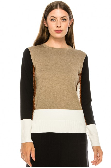 White Side-Piping Sweater