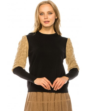 Metallic Sleeve Sweater - BEIGE