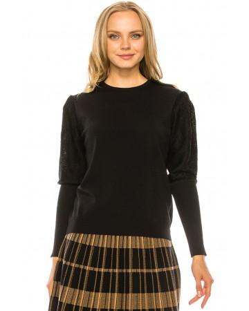 Metallic Sleeve Sweater - BLACK