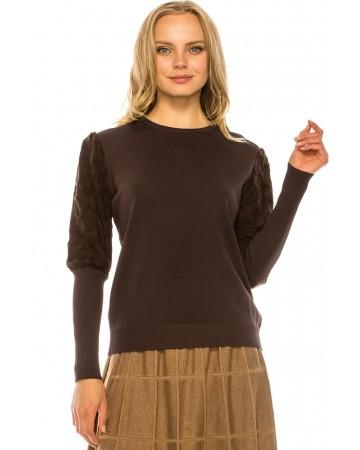 Metallic Sleeve Sweater - BROWN