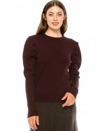 Burgundy Ribbed Sweater