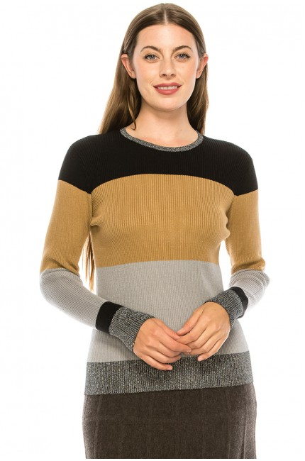 Ribbed Color Blocked Top