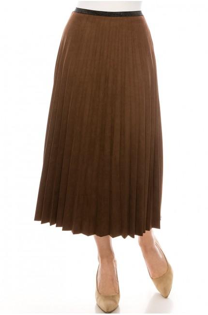 Brown Pleated Suede Midi Skirt