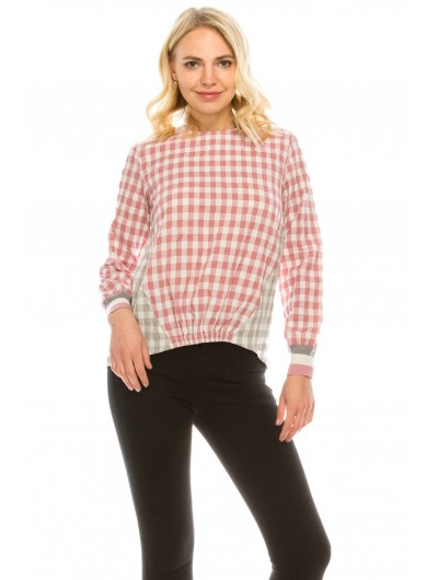 Plaid Pink Top with Striped Cuff