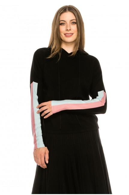 Black hoodie with striped detail