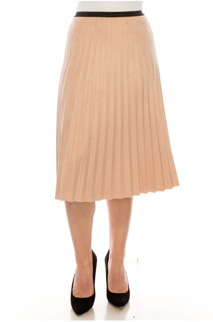 BLUSH PLEATED SUEDE SKIRT