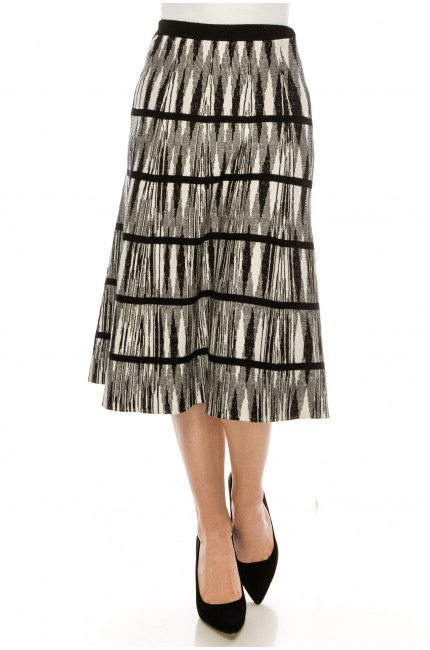 Black and White Abstract Line Skirt