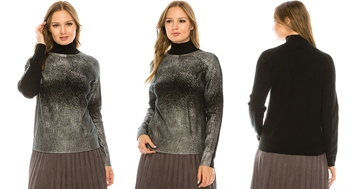 Silver Foiled Mock Neck Top - Tznius